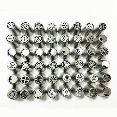 48 Pieces / Set Russian Stainless Steel Icing Piping Nozzles Tips Pastry Cake De