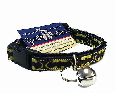 Spoilt Rotten Pets UK Made Quality Adjustable Bat Man Retro Style Cat Collar