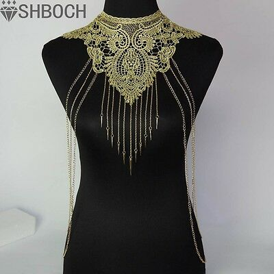 Lace Body chain Women Flower Collar Choker Gold Body Chains  Hollow out Gothic B