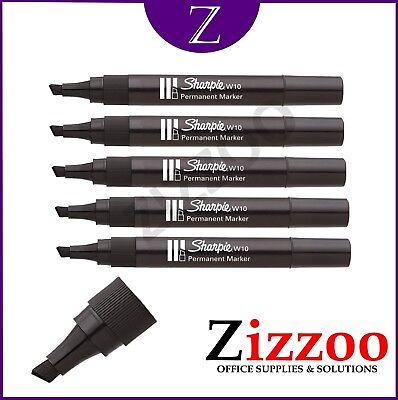 Sharpie W10 Permanent Marker  - Chisel Tip With 1.2-5Mm Line  - Black + Free P&p
