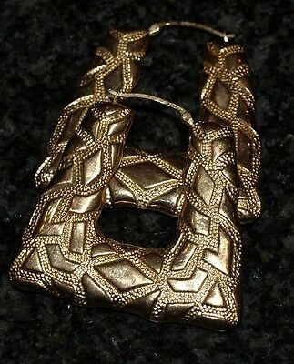 9ct Gold Creole Earing -NEW Boxed -Gypsy Large Earings
