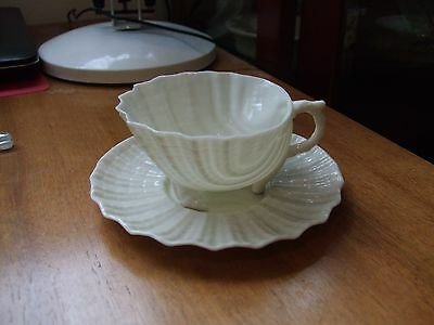Belleek Cup and Saucer Neptune Pattern 1891-1926