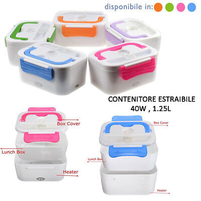 Lunch Box Scaldavivande Elettrico Lunch Box 40W 1,25L 2 Scomparti Lavabili