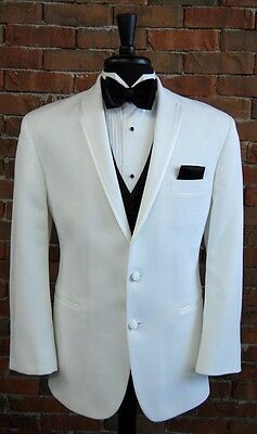 MENS 48 R  WHITE SLIM FIT DINNER JACKET TUXEDO  LASTRADA by AFTER SIX