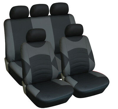 Universal Car Seat Cover Set Luxury Black & Grey Leather Look Seat Cover Set