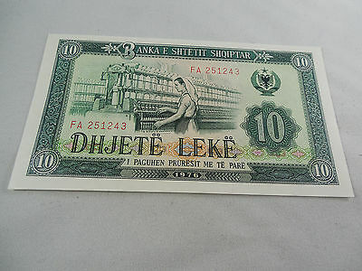 Uncirculated 1976 10 Leke Note From Albania
