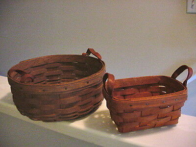 """2 Longaberger Baskets with Leather Handles 1989 Small Rectangle 5x7 & Round 10"""""""