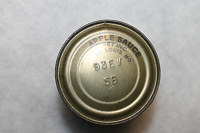 Original WW2 U.S. Army Issued Ration Can of Apple Sauce, Unopened OD Steel Can