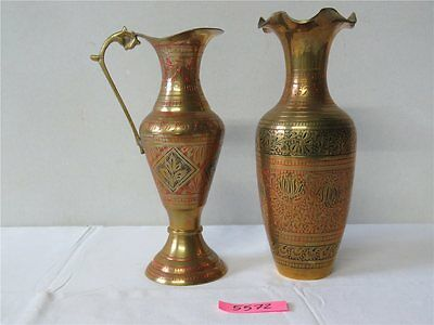 2 x Messing Vase Karaffe Bauchvase Made in India H 21 cm Orient