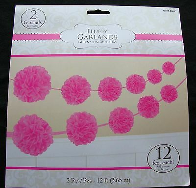 2 x PINK Paper Party Garland Fluffy Pom Poms christening baby shower FREE P&P