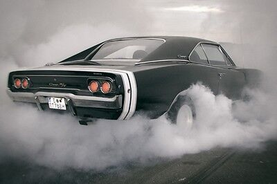 Dodge Charger RT Drift Retro Car Photo Print POSTER
