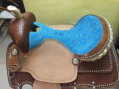 "Western Natural/Brown Hand Basket Tooled /Silver Spot Barrel Racer 16"" Saddle"
