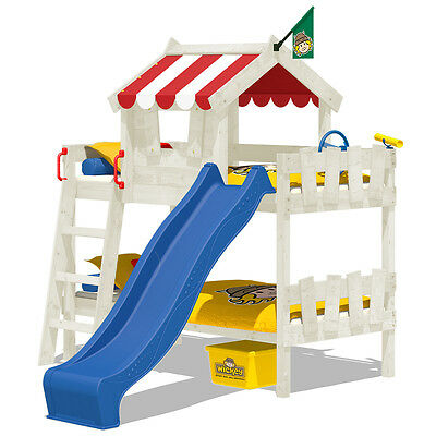WICKEY CrAzY Circus children's loft bed with slatted bed base and whitewash