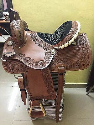 "Western Brown Barrel Racer Hand Carved Rawhide Braided 16"" Saddle"