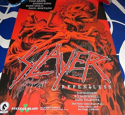 SLAYER complete group signed auto autographed 2016 Comic-Con SDCC 18x24 poster
