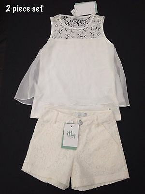 BNWT ITTY LONDON RRP £76.00 - Girls Cream Lace Top & Shorts set - Ages 7 & 8 yea
