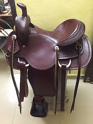 """Western Mahogany Roper Ranch Hand Tooled 16"""" Full Leather Saddle /Leather String"""