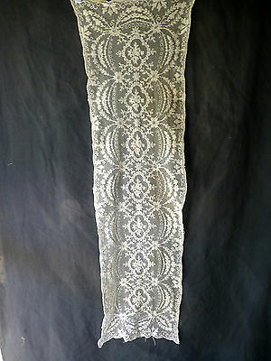 Vintage OLD EMBROIDERED Battenburg  LACE Ivory Table Runner Dresser Scarf 13X43