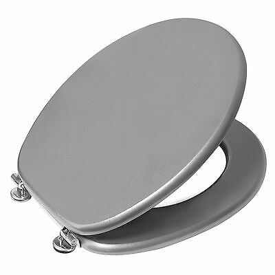 """18"""" Silver Mdf Bathroom Wc Toilet Seat With Universal Fittings Adjustable Hinges"""