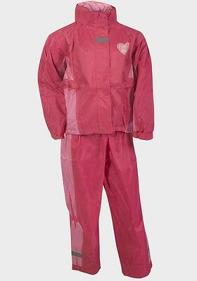 Bnwt Girls Pink Tracksuit/ Waterproofs I Love U Rain Ages 5-6  And 7-8 Years