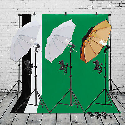 "2x 33"" Photo Studio Lighting Kit White Umbrella Reflector Lamp Photography Stand"