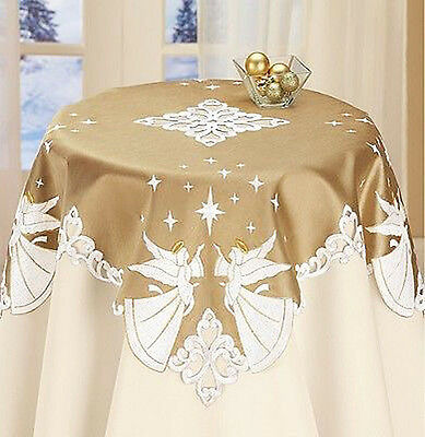 Christmas Decor Angels & Stars Table Runner Tablecloth Embroidered Silky Golden