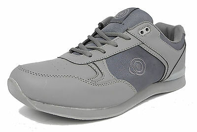 Mens Flat Sole Lightweight Lace Up Bowls Shoes Bowling Trainers GREY Size 6-11