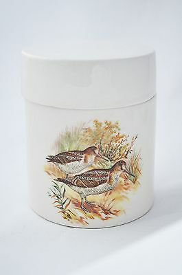 Vintage scottish pottery  jar and lid with woodcock birds decoration