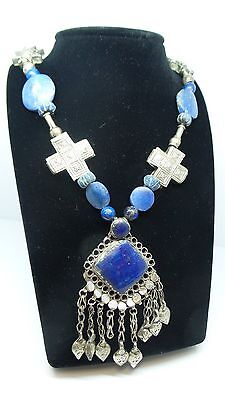 "Vintage Southwesten Lapis Lazuli Sterling Silver Necklace 25 1/2""inches Long!"