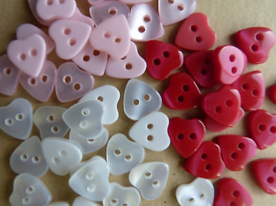 HEART BUTTONS SIZE 18 (11 mm) in pink white or red