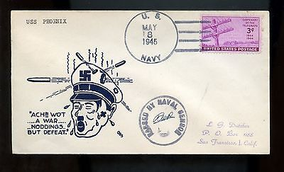 US WWII Patriotic Censored Cover May 8, 1945 (VE Day) with Anti-Hitler Cachet