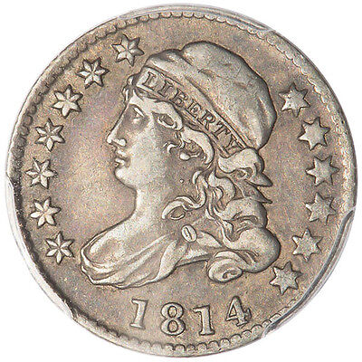 1814 10C Large Date Capped Bust Dime Pcgs Vf35