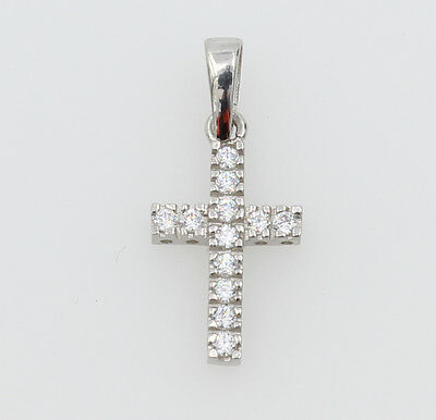 14K Real White Gold Very Tiny Cross Charm Pendant Cubic Zirconia Baby Children