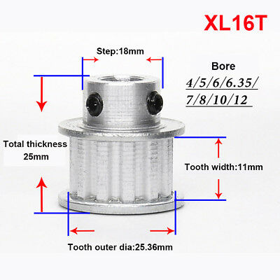 XL16T Timing Belt Pulley Synchronous Wheel 6/7/8/10/12mm Bore For 10mm Belt