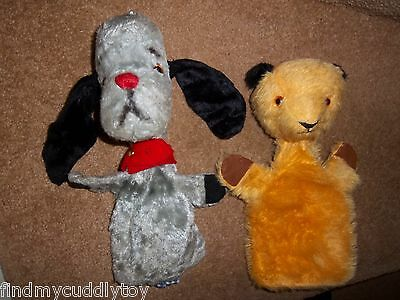 VINTAGE 1950s 1960s CHAD VALLEY SOOTY + WAND & SWEEP GLOVE PUPPET SOFT TOYS