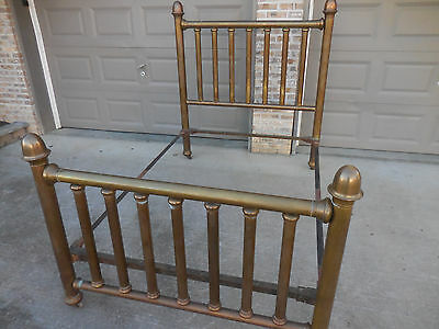 Antique Victorian Brass Bed Tubular Frame Headboard Footboard Full Size 1920's