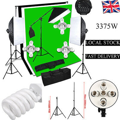 3375W Photo Studio Continuous Lighting kit Softbox Boom arm 3 Background & Stand