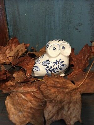 Ceramic Owl Bird Blue White Figurine Collectible Coin Bank Free Shipping