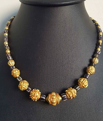 Burmese ancient pyu glass beads and gold handmade burma bead