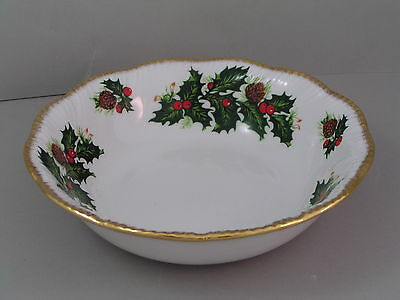 """Queens Rosina China Yuletide 6 1/4"""" Fluted Cereal Bowl, Gold Trim."""