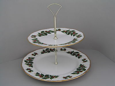 QUEENS ROSINA CHINA YULETIDE FLUTED TWO TIER CAKE STAND, a/f, GOLD TRIM.