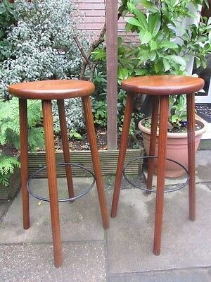 Pair Of Tall Vintage Oak Bar Stools With Groved Legs Made In Ussr