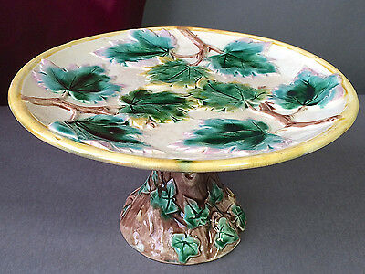 American Etruscan Majolica Maple Leaf Cake Stand Griffen Smith & Hill Early Mark