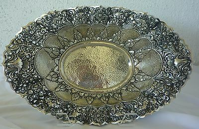 800 Silver Center Bowl Antique Rococo Basket Reticulated Hammered 530 Grams