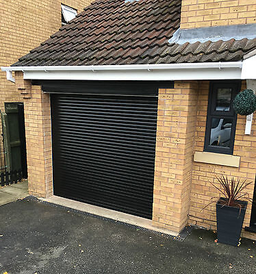 Remote Controlled Insulated Electric Roller Garage Door in Black