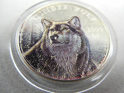 2000 Silver Timber Wolf 10 Dollar Republic Of Liberia Colorized Coin