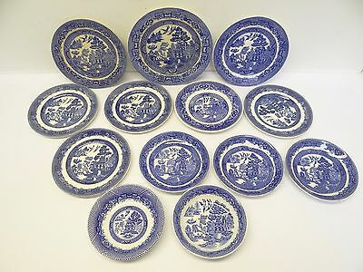 Mixed Lot Blue Willow Allertons England Saucers Plates Johnson Bros Woods Ware