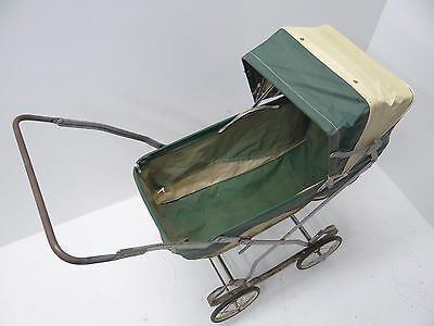Vintage Used Green White Portable Doll Baby Carriage Collapsible Stroller