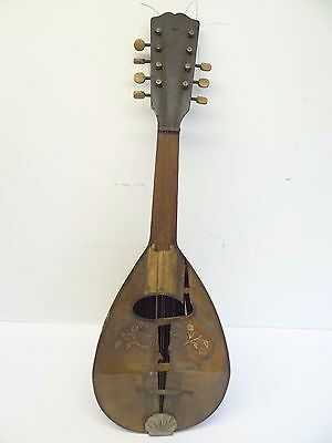 Vintage Used Mandolin Inlayed Mother of Pearl Wood String Instrument Neck Parts