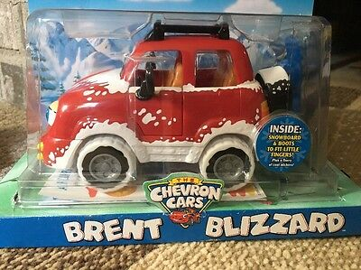 """THE CHEVRON CARS ~ """"BRENT BLIZZARD""""  w/Snowboard & Boots Toy Car new In Box!"""